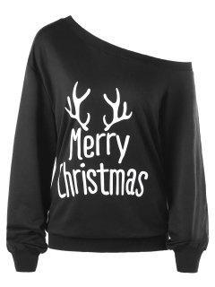 Merry Christmas Plus Size Skew Collar Sweatshirt - Black 5xl