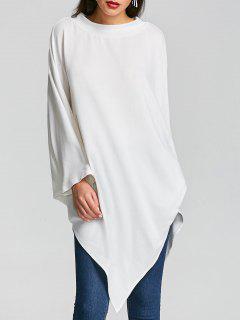Poncho Irregular Con Cuello Redondo - Blanco 2xl