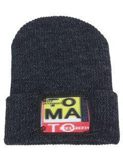 Paper Clip Embellished Flanging Knitted Beanie Hat - Black