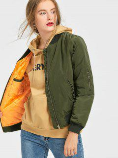 Zip Up Puffer Jacket - Army Green S