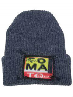 Paper Clip Embellished Flanging Knitted Beanie Hat - Gray