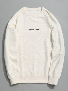 Letter Crew Neck Sweatshirt - White L