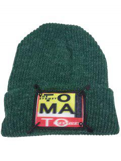 Paper Clip Embellished Flanging Knitted Beanie Hat - Green