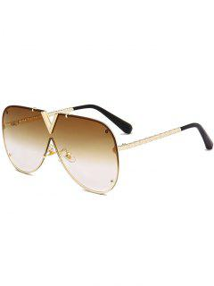 Outdoor V Shape Metal Frame One Piece Lens Sunglasses - Gold Frame + Dark Brown Lens