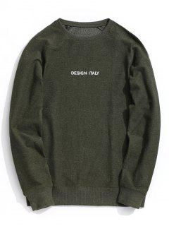 Letter Crew Neck Sweatshirt - Army Green L