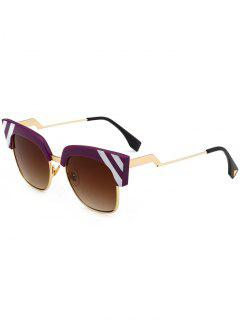Vintage Round Metallic Spliced Cat Eye Sunglasses - Claret