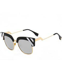 Vintage Round Metallic Spliced Cat Eye Sunglasses - Reflective White Color
