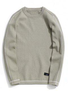 Crew Neck Pullover Sweater - Light Khaki 2xl