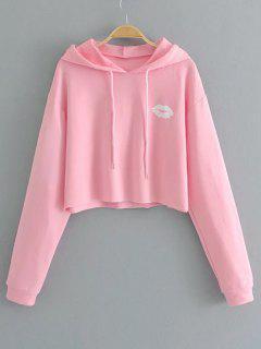 Lips Print Cute Pullover Hoodie - Pink S