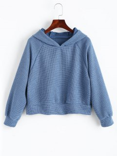 Slit Textured Raglan Sleeve Hoodie - Lake Blue Xl