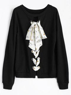 Floral Lace-up Crew Neck Sweatshirt - Black M