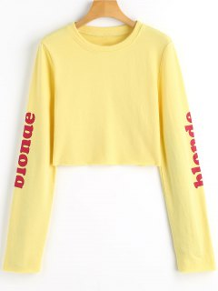 Graphic Blonde Crop Sweatshirt - Yellow S