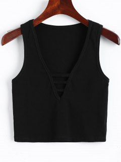 V Ausschnitt Ausschnitt Ausgeschnittenes Trägershirt - Schwarz M