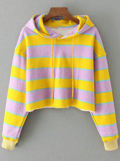 Cropped Color Block Striped Hoodie - Yellow L