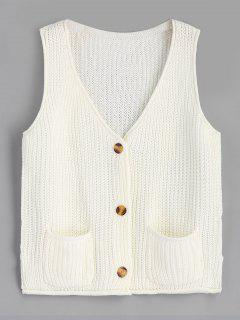 Chunky Button Up Cardigan Vest - Off-white