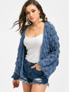 Loose Knit Open Front Cardigan - Blue
