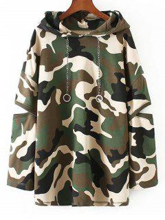 Cut Out Sleeve Tunic Camo Hoodie - Camouflage M