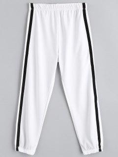 Casual Elastic Waist Jogger Pants - White M