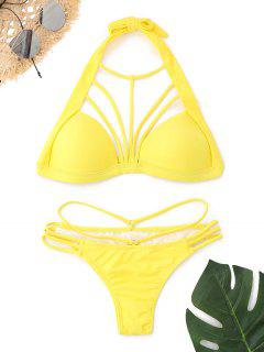 Niedrig Taillierter Halter Strappy Bikini Set - Gelb M