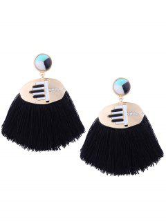 Rhinestone Resin Tassel Statement Earrings - Black