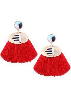 Rhinestone Resin Tassel Statement Earrings - Red