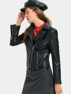 Faux Leather Lace Up Biker Jacket - Black M