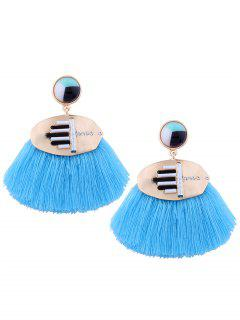Rhinestone Resin Tassel Statement Earrings - Blue