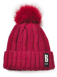 Letter B Embellished Crochet Knitted Beanie Scarf Set - Wine Red