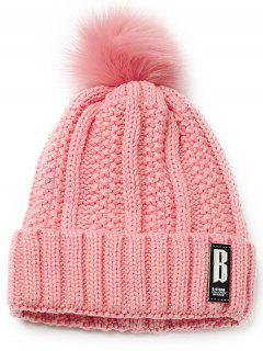 Letter B Embellished Crochet Knitted Beanie Scarf Set - Pink