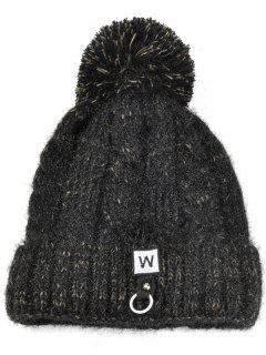 W Embroidery Embellished Thicken Knitting Pom Beanie - Black