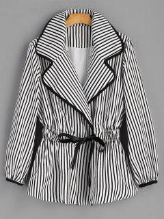Waist Tied Striped Coat - White And Black S