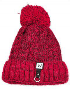 W Embroidery Embellished Thicken Knitting Pom Beanie - Red