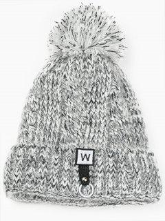 W Embroidery Embellished Thicken Knitting Pom Beanie - Gray