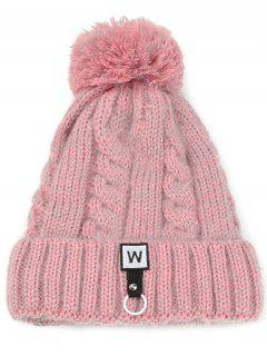 W Embroidery Embellished Thicken Knitting Pom Beanie - Pink