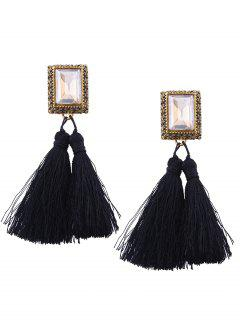 Faux Crystal Tassel Geometric Earrings - Black