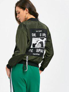 Graphic Back Zip Up Bomber Jacket - Army Green L