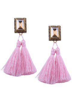 Faux Crystal Tassel Geometric Earrings - Pink