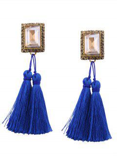 Faux Crystal Tassel Geometric Earrings - Blue