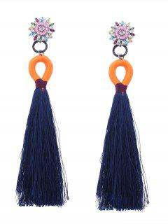 Rhinestoned Flower Tassel Earrings - Blue