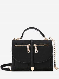 Color Block Front Zips Crossbody Bag - Black