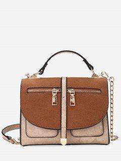Color Block Front Zips Crossbody Bag - Brown