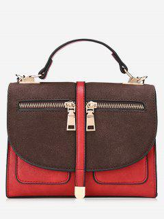 Color Block Front Zips Crossbody Bag - Red