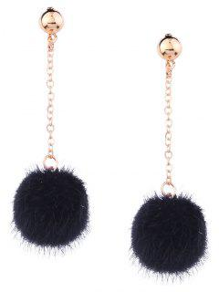 Cute Fuzzy Ball Chain Earrings - Black