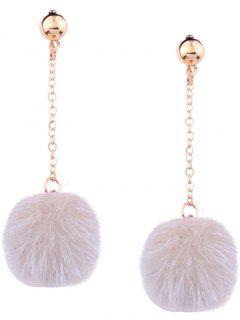 Cute Fuzzy Ball Chain Earrings - Beige