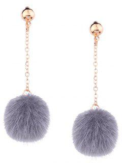 Cute Fuzzy Ball Chain Earrings - Gray