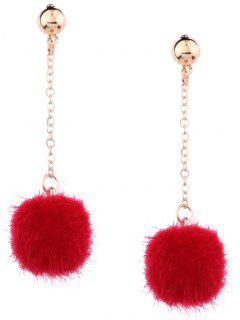Cute Fuzzy Ball Chain Earrings - Red