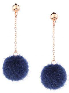 Cute Fuzzy Ball Chain Earrings - Blue