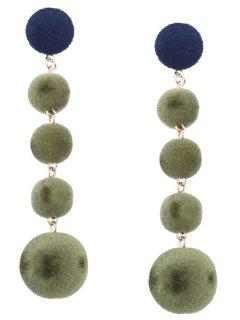 Ball Beaded Earrings - Green