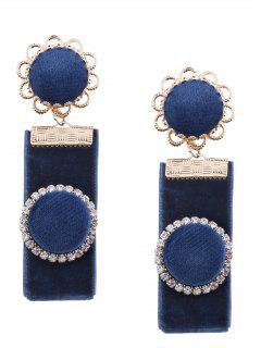 Vintage Rhinestoned Velvet Round Flower Earrings - Blue