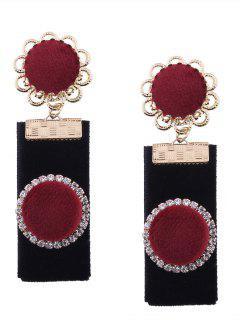 Pendientes De Flores Redondas De Terciopelo Rhinestoned Vintage - Rojo